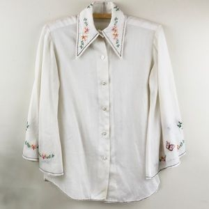 Vintage Embroidery Button Down Shirt
